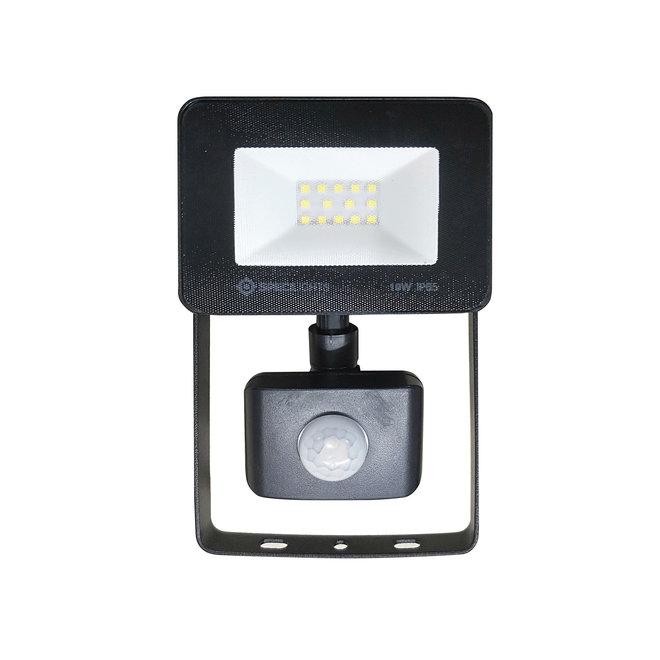 10W LED Bouwlamp met Sensor Zwart IP65 - 6000K