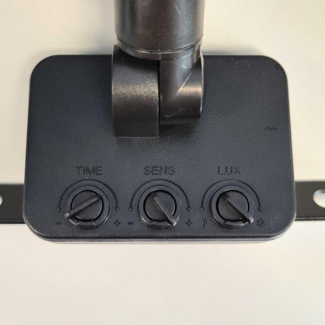 10W LED Bouwlamp met Sensor Zwart IP65 - 6000K - Ingebouwde IP68 connector