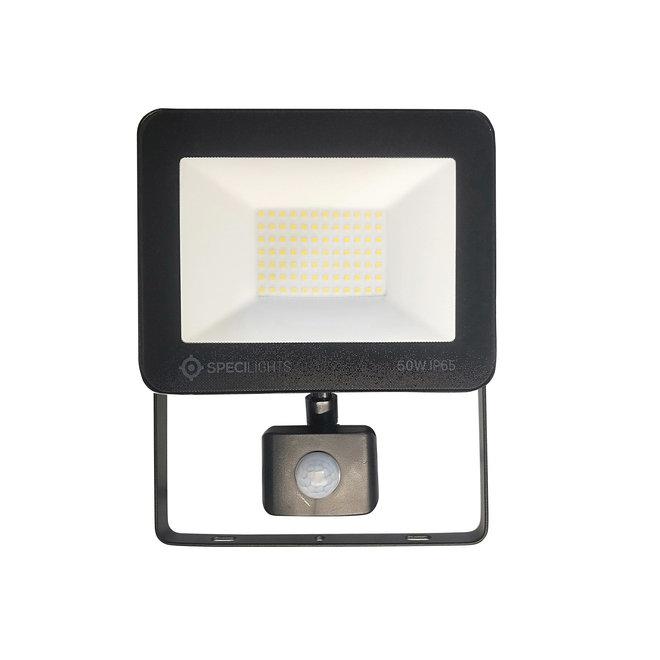 50W LED Bouwlamp met Sensor Zwart IP65 - 4000K - Ingebouwde IP68 connector