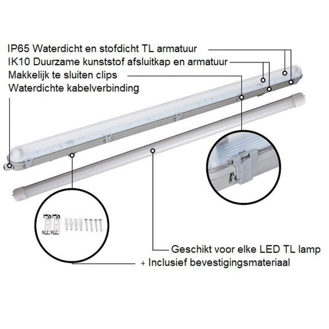 Waterdicht IP65 LED TL armatuur 150 cm 48W - Compleet met LED TL verlichting - Inclusief 2 x 24W LED TL buizen - 6000K