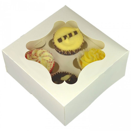 White box for 4 cupcakes with elegant window (per 25 pieces)