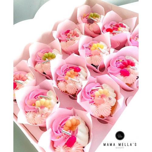Witte doos voor 12 cupcakes met sierlijk venster (per 25 stuks)