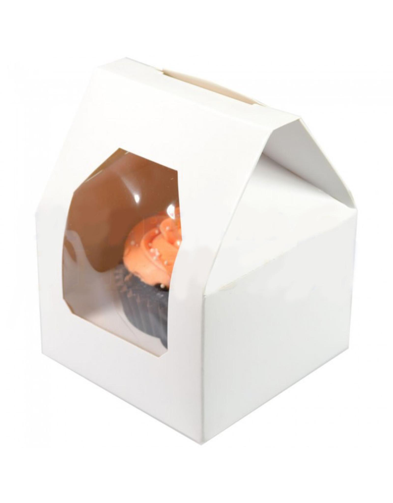 Witte doos in de vorm van een huisje  voor 1 cupcake  (per 25 stuks)