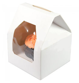 """White """"rooftop"""" box for 1 cupcake (25 pcs.)"""
