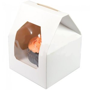 """Witte doos  voor 1 cupcake """"huisje"""" (25 st.)"""