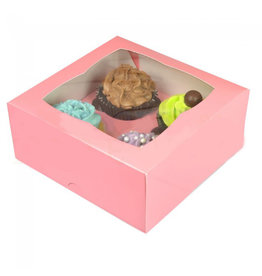 Pink box for 4 cupcakes (25 pcs.)