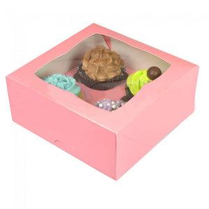 Roze doos voor 4 cupcakes (25 st.)