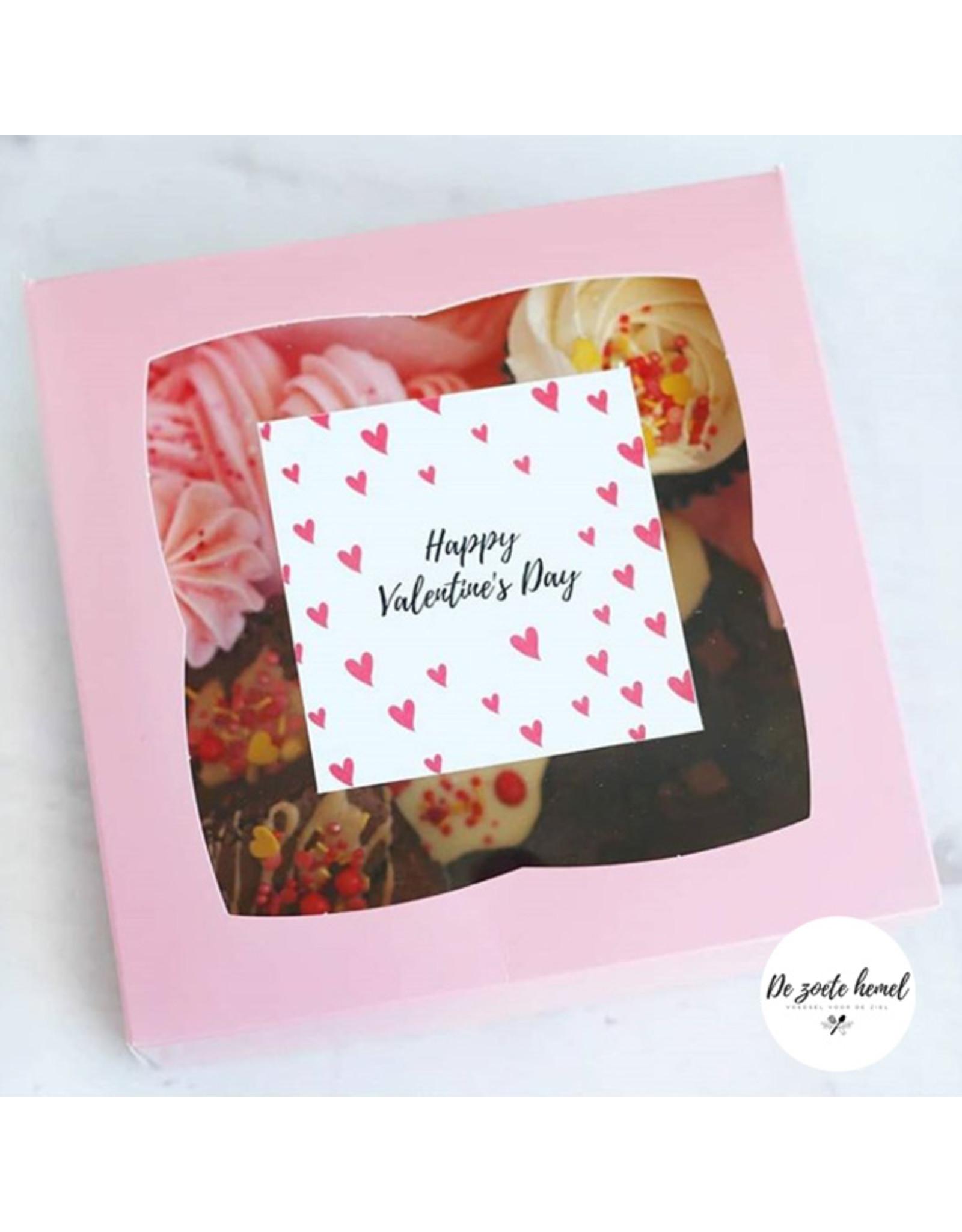 Roze doos voor 4 cupcakes (per 25 stuks)