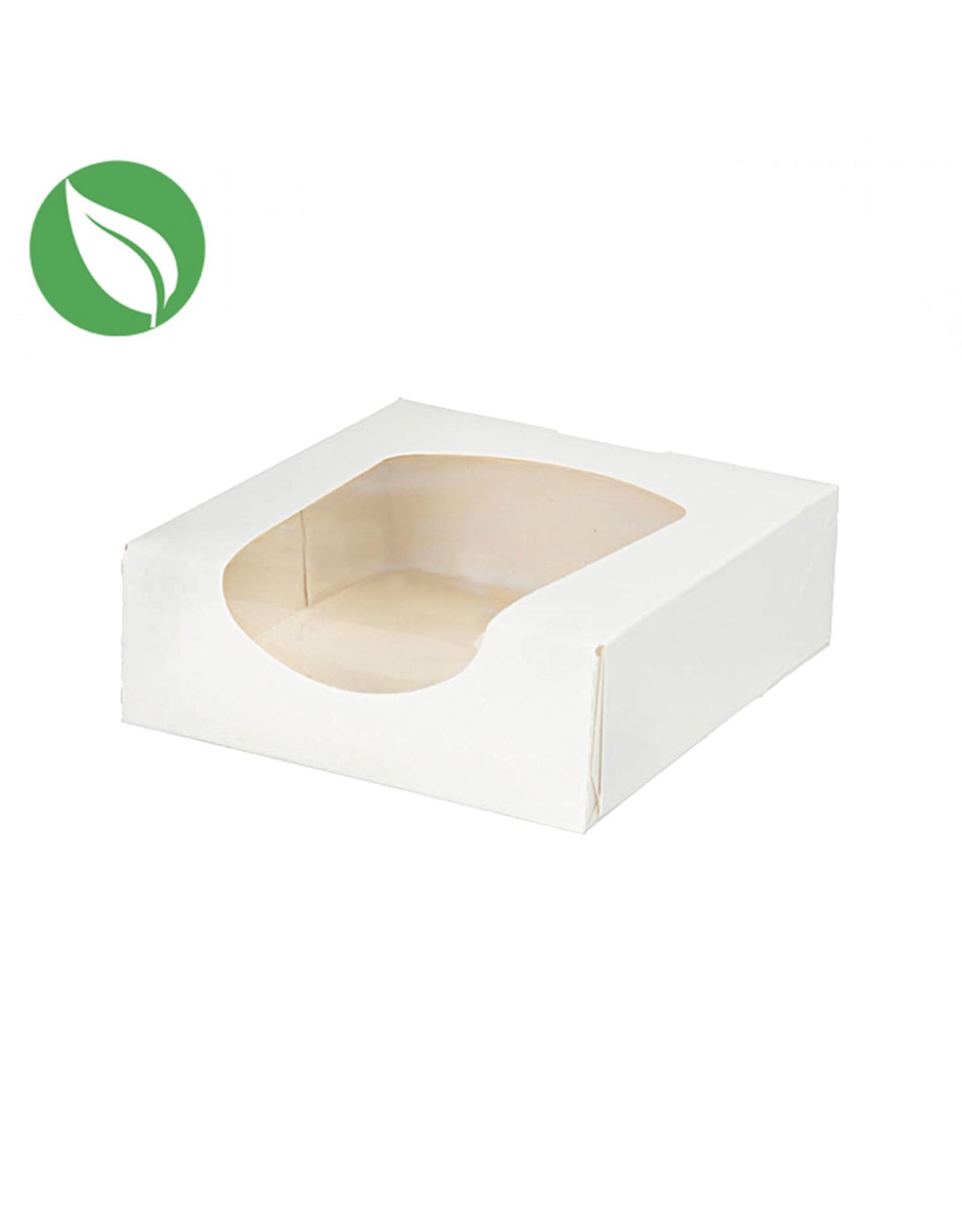 biologisch wit doosje voor 1 donut, brownies, macarons, chocolade, etc. (per 250 stuks)