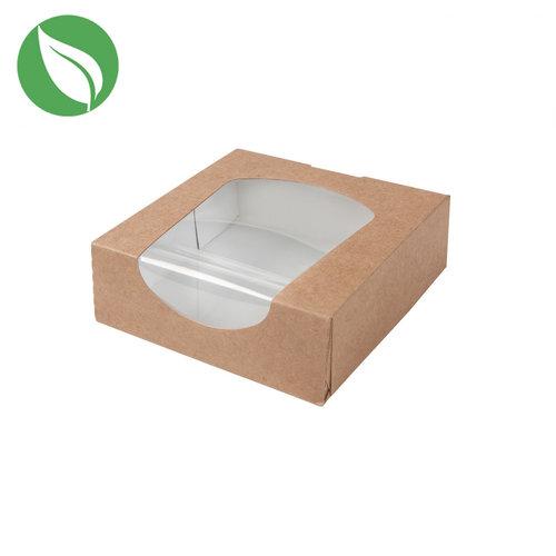 Biodegradable kraft box for 1 donut, brownies, macarons, chocolates, etc. (per 250 pieces)