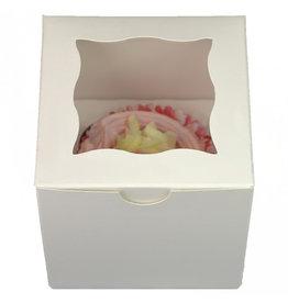 Wit kubusdoosje voor 1 cupcake (25 st.)