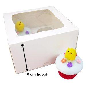 Witte hoge doos voor 4 cupcakes (25 st.)