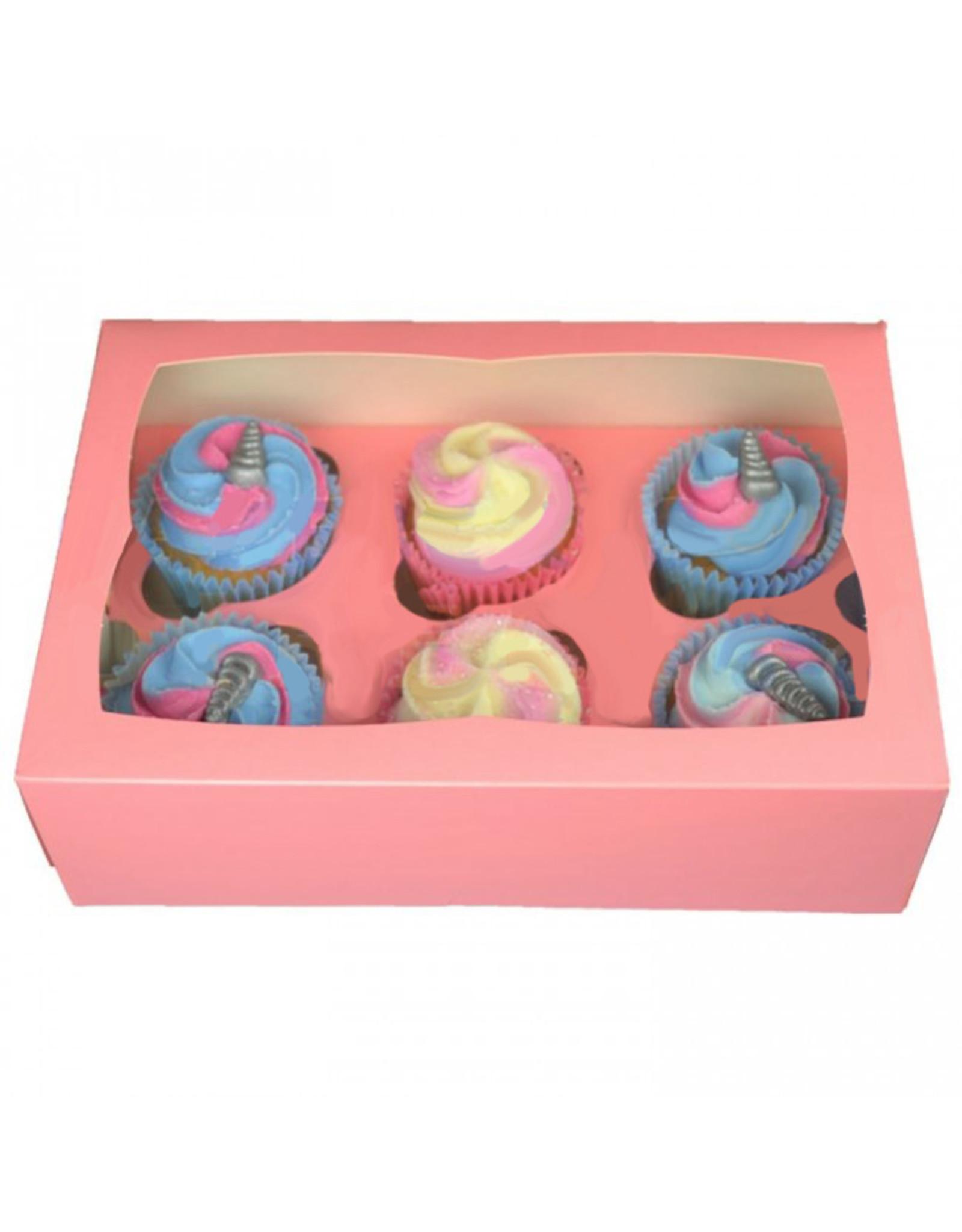 Roze doos voor 6 cupcakes (25 stuks)