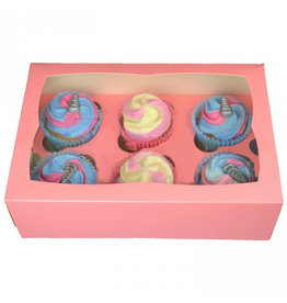 Pink box for 6 cupcakes (25 pcs.)