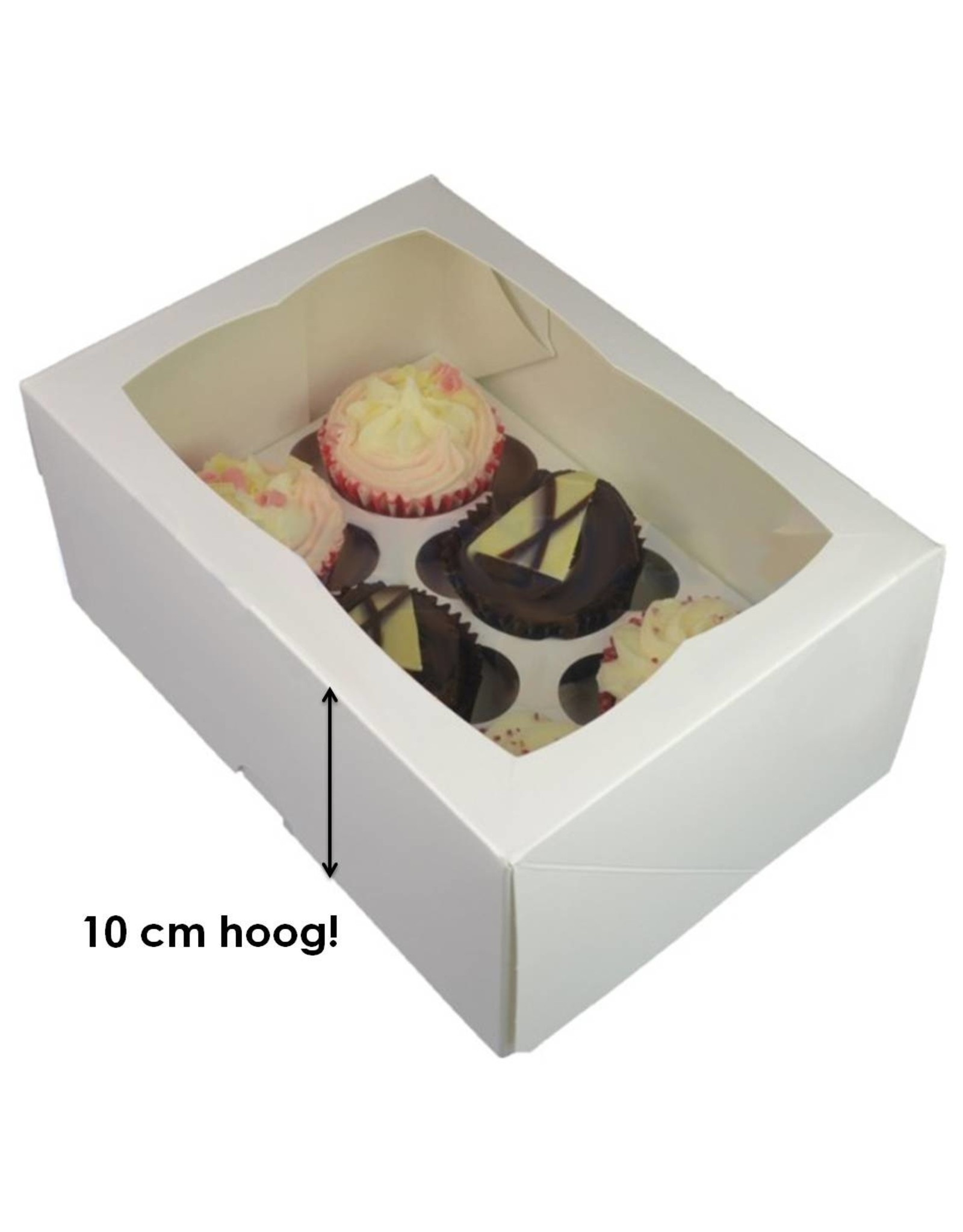 White deep box for 6 cupcakes (25 pieces)