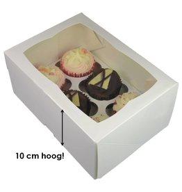 Witte hoge doos voor 6 cupcakes (25 st.)