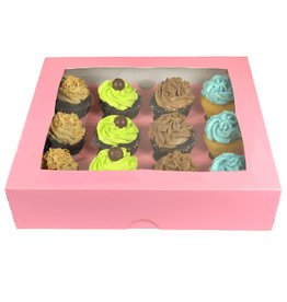 Pink box for 12 cupcakes (25 pcs.)