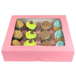 Roze doos voor 12 cupcakes (25 st.)