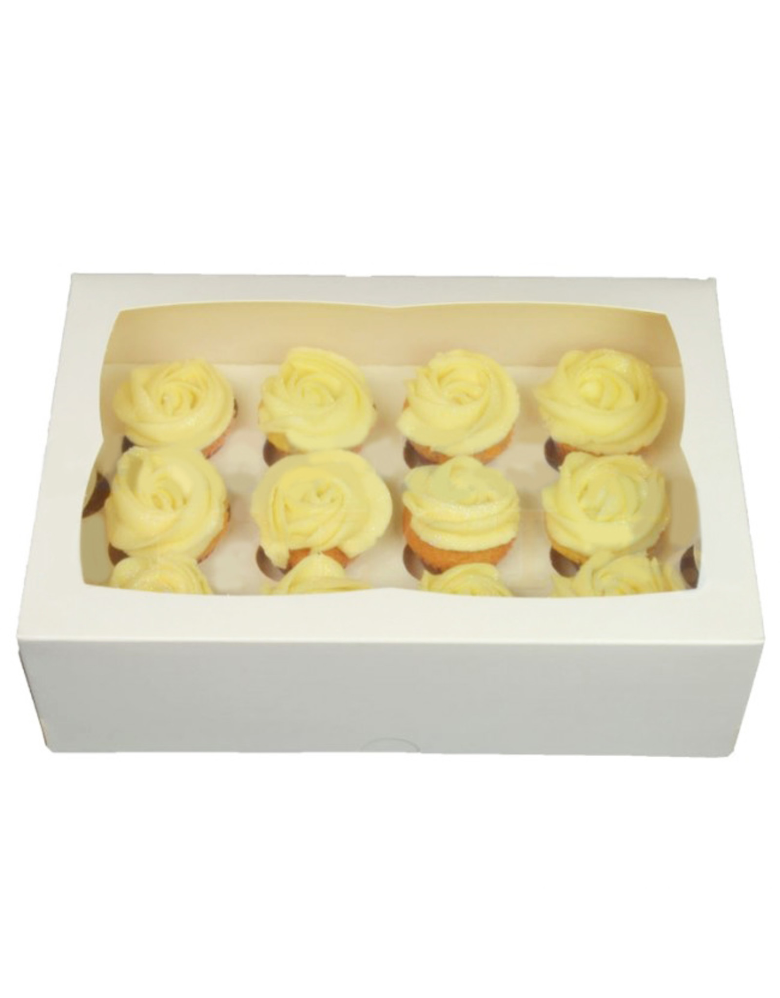 Witte doos voor 12 minicupcakes (per 25 stuks)