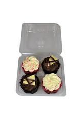 Transparante doos voor 4 cupcakes (per 250 stuks)