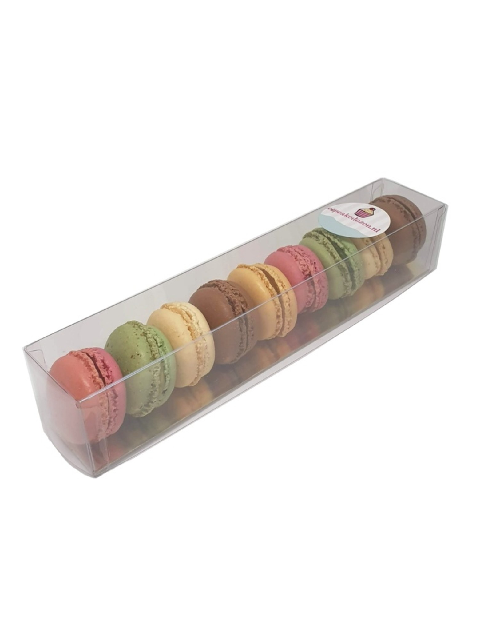 Transparent boxes for macarons in multiple sizes (per 100 pieces)