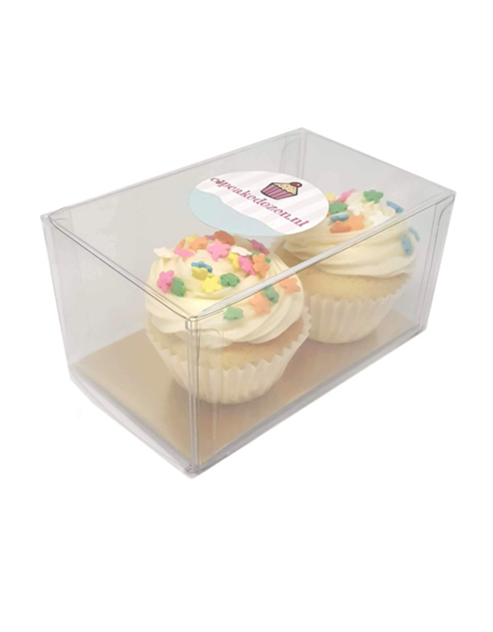 Clear box for 2 mini cupcakes (per 100 pieces)