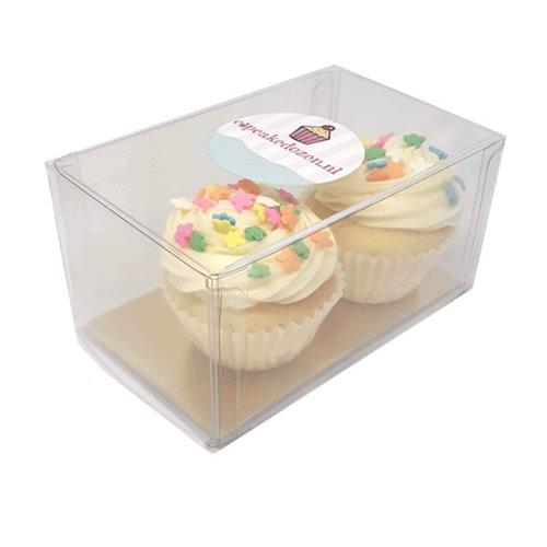 Transparante doos voor 2 minicupcakes (per 100 stuks)