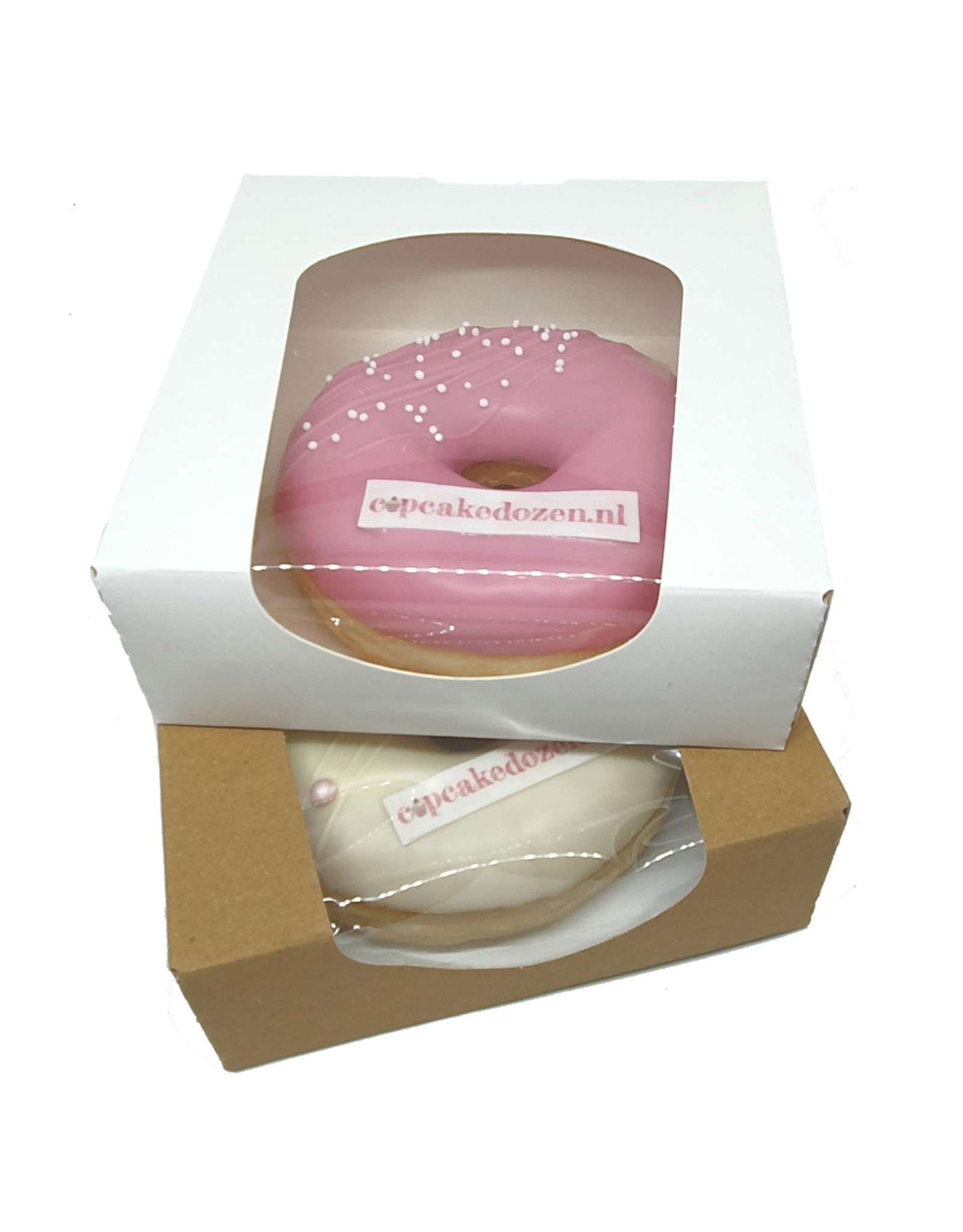 biodegradable white box for 1 donut, brownies, macarons, chocolates, etc. (per 250 pieces)
