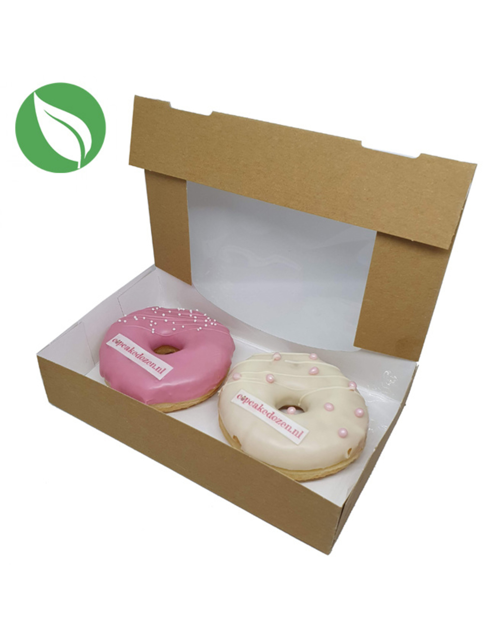 Biodegradable kraft box for 2 donuts or brownies (per 400 pieces)