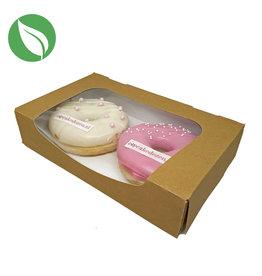 Biologisch kraft doosje voor 2 donuts of brownies (400 st.)