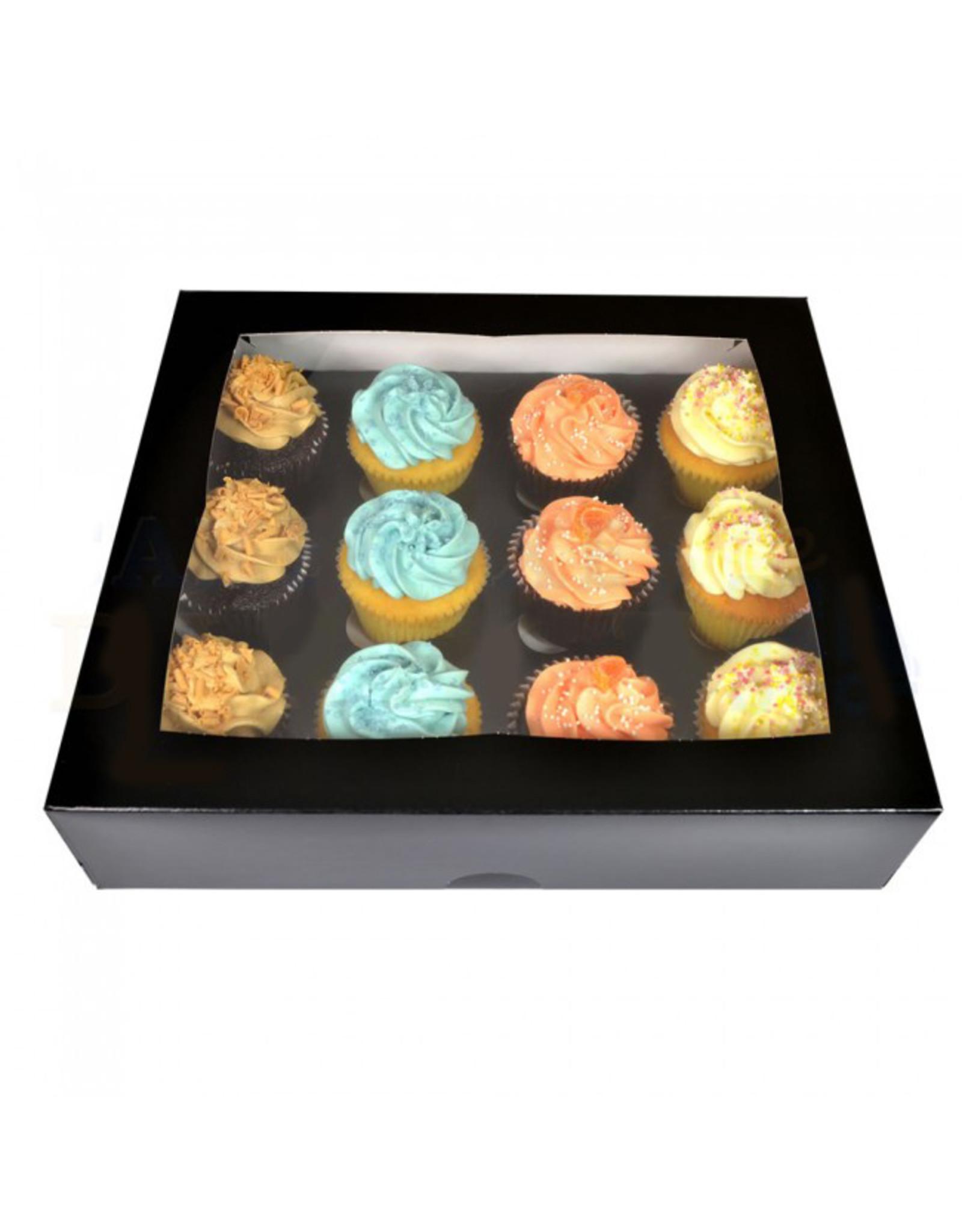 Black box for 12 cupcakes (per 25 pieces)