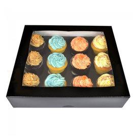 Zwarte doos voor 12 cupcakes (25 st.)
