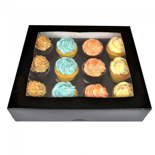 Zwarte doos voor 12 cupcakes (per 25 stuks)