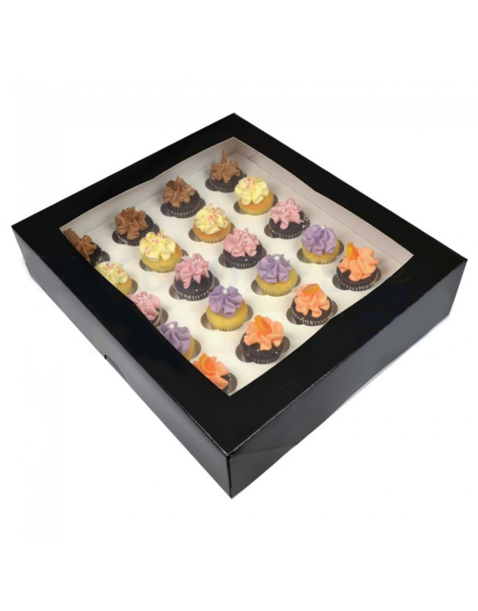 Zwarte doos voor 24 minicupcakes (per 25 stuks)