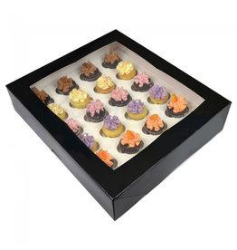 Zwarte doos voor 24 minicupcakes (25 st.)