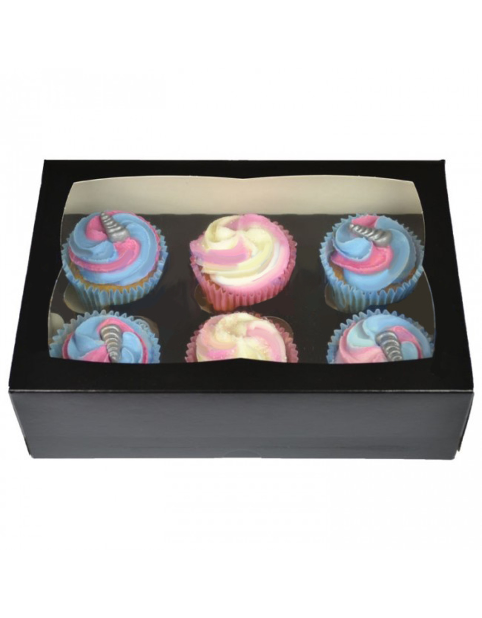 Black box for 6 cupcakes (25 pieces)