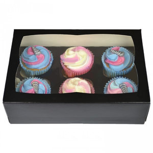Zwarte doos voor 6 cupcakes (25 st.)