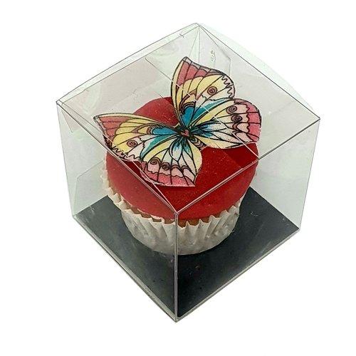 Clear cube box for 1 mini cupcake (per 100 pieces)