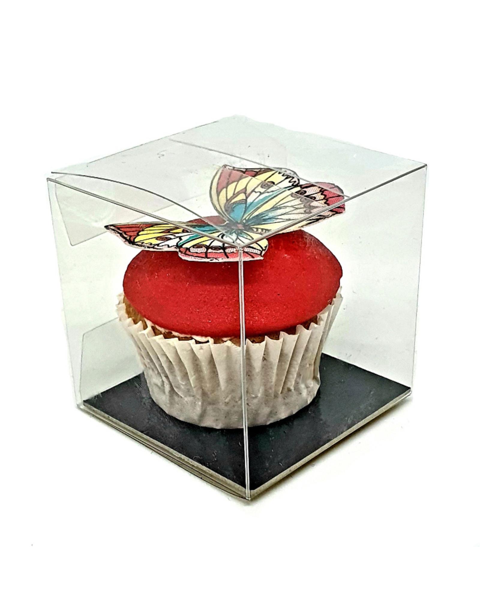 Transparant kubusdoosje voor 1 minicupcake (per 100 stuks)
