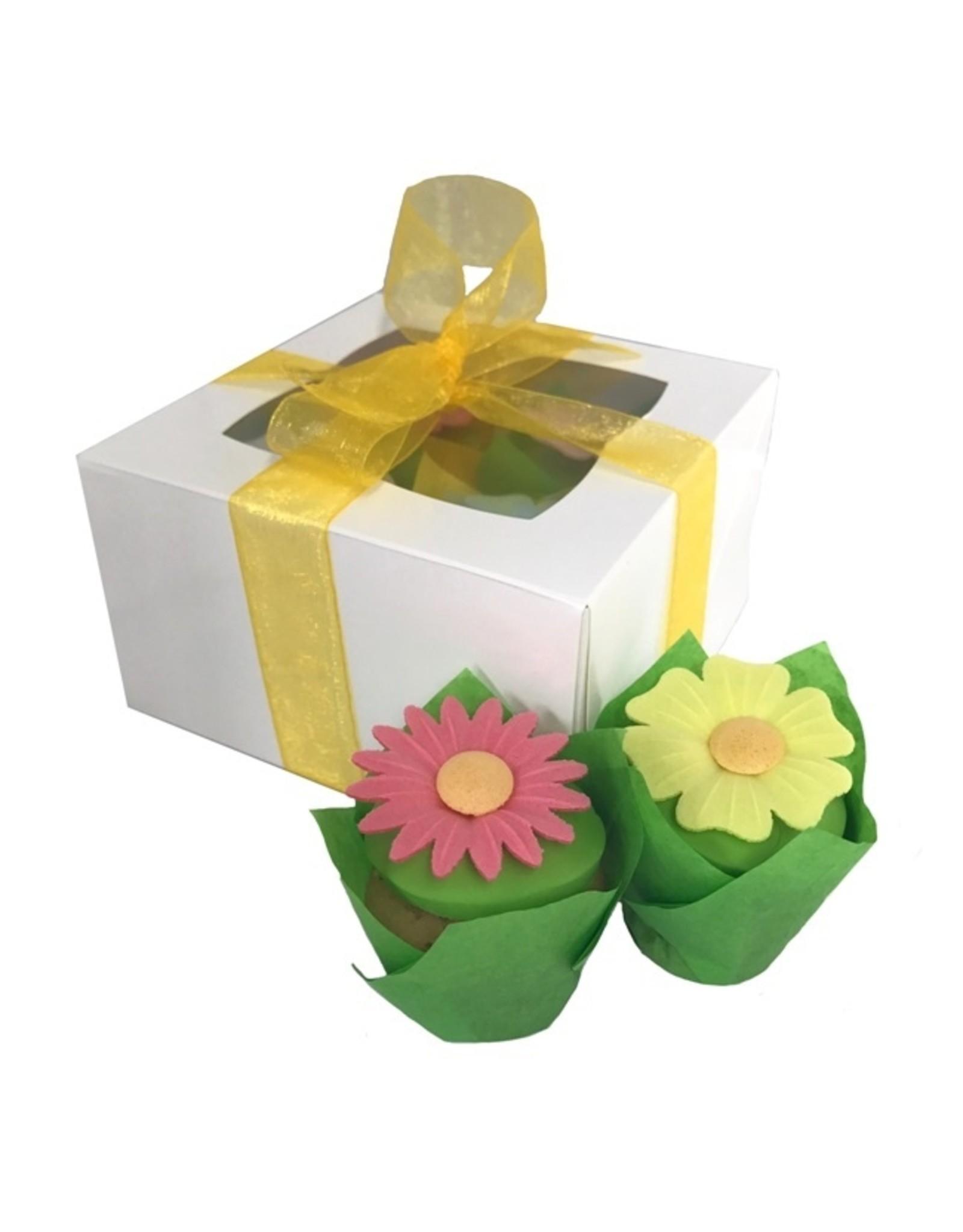 Witte doos voor 4 minicupcakes (per 25 stuks)