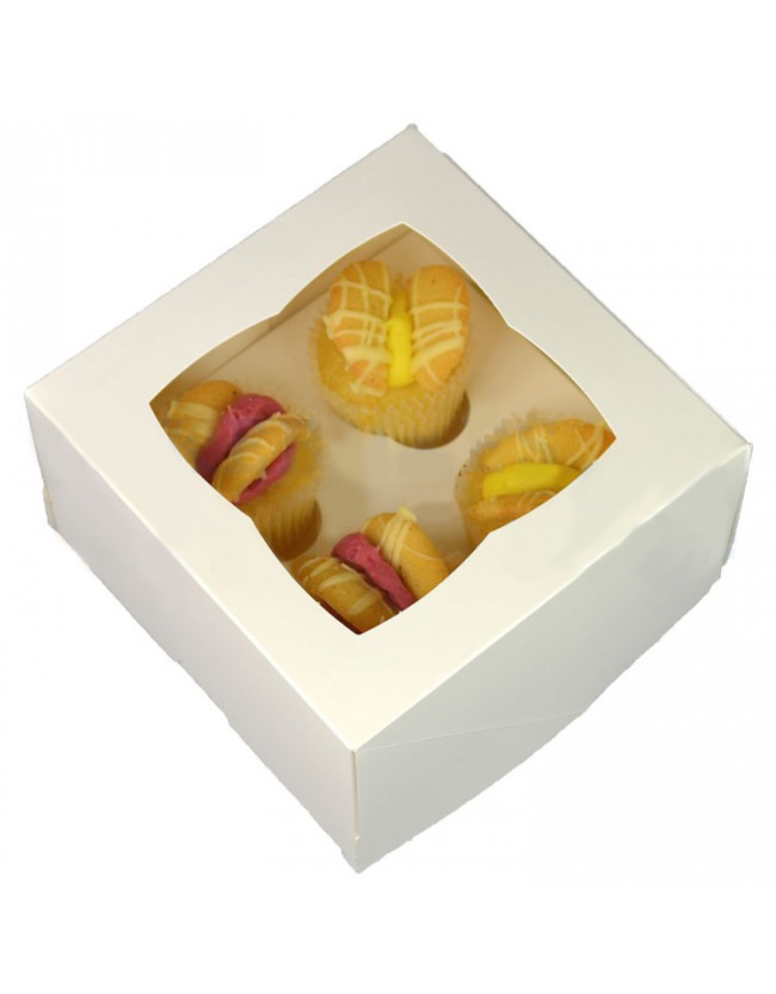 White box for 4 mini cupcakes (25 pieces)