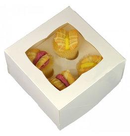Witte doos voor 4 minicupcakes (per 25 st.)