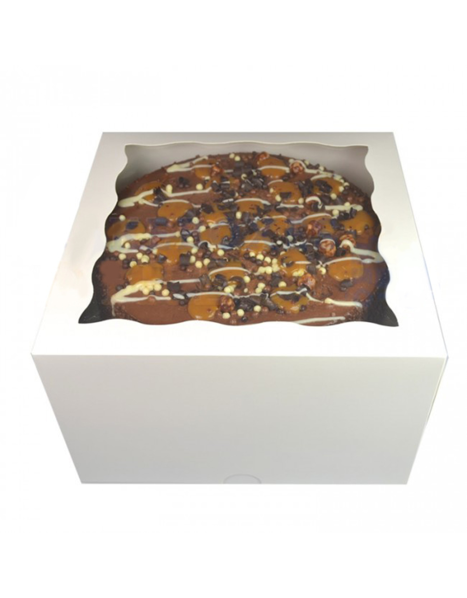 Witte taartdoos met venster - 20x20x12 (per 25 stuks)