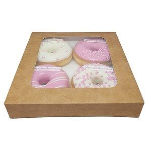 Kraft doos voor 4 donuts (25 st.)