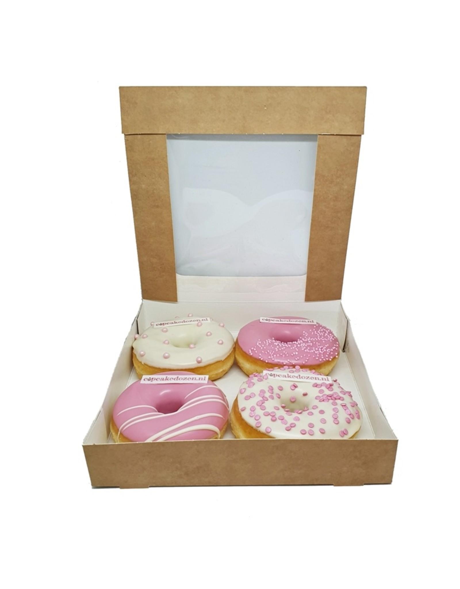 Kraft doos voor 4 donuts (per 25 stuks)