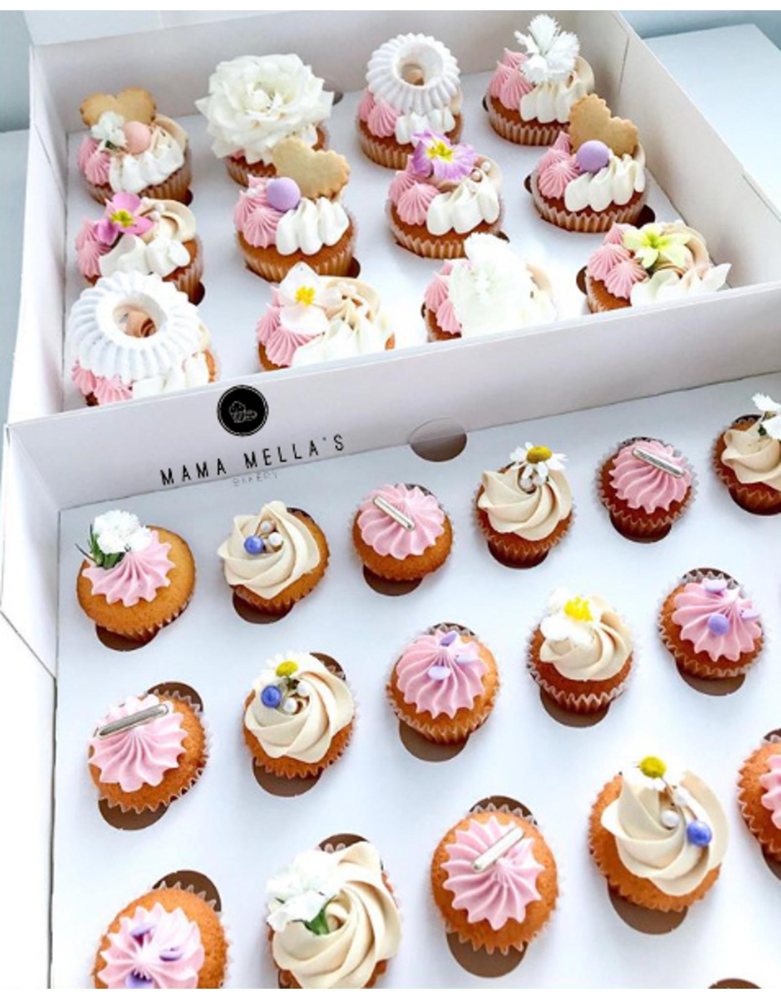 Witte doos voor 24 minicupcakes (per 25 stuks)