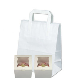 White 2 cupcake paper carrier bag (100 pcs.)
