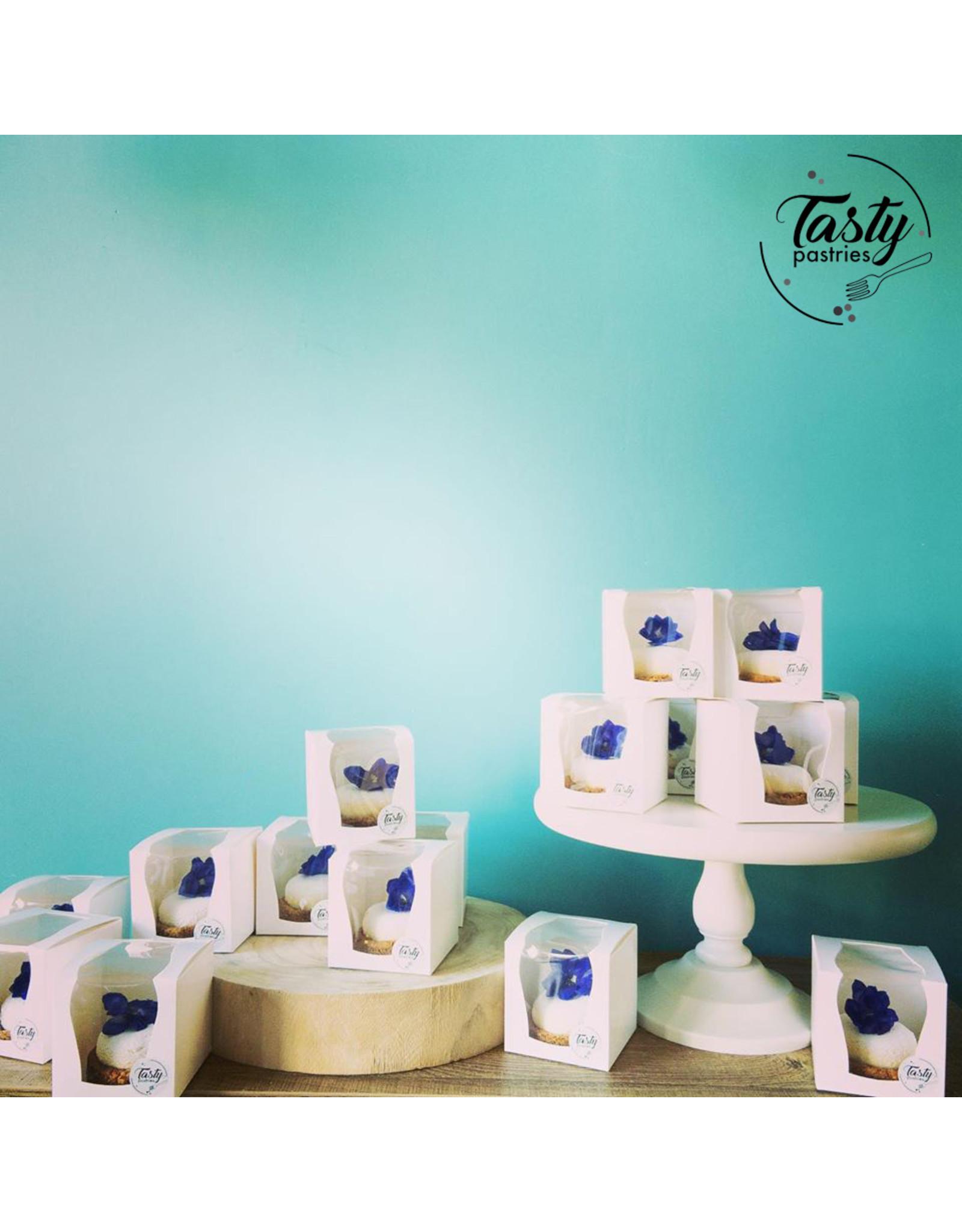 Doos voor 1 cupcake met extra groot venster + lint (per 50 stuks)