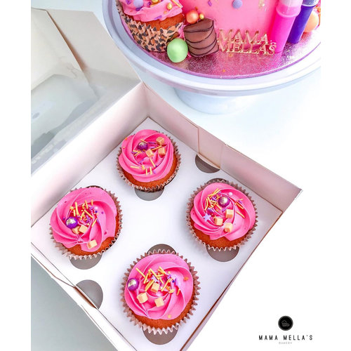 White deep box for 4 cupcakes (per 25 pieces)