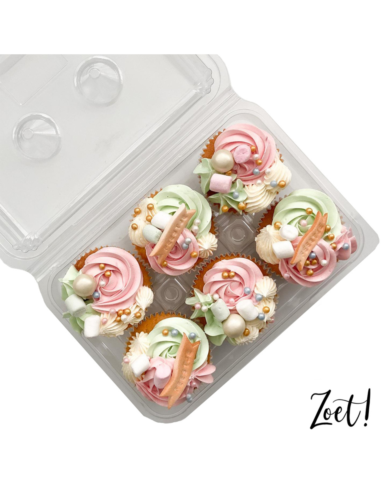 Transparent box for 6 cupcakes (per 240 pieces)